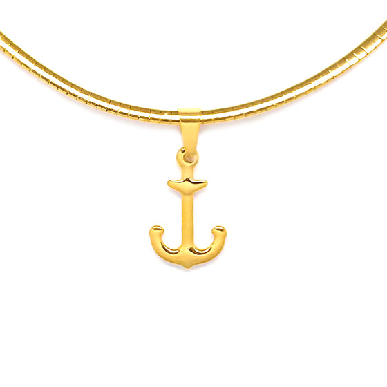 Gold Omega with Anchor Necklace