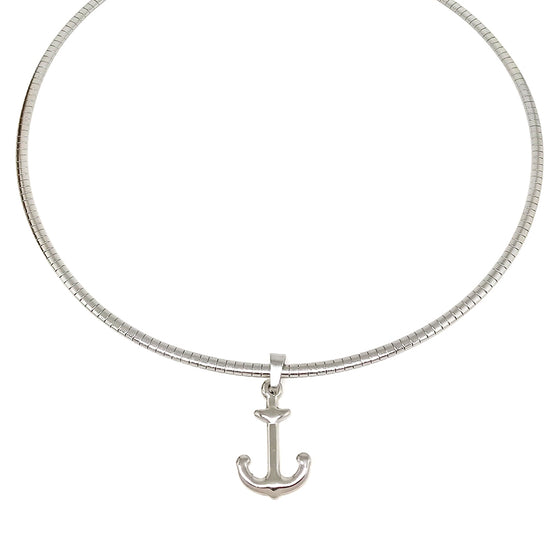 Silver Anchor Omega Necklace