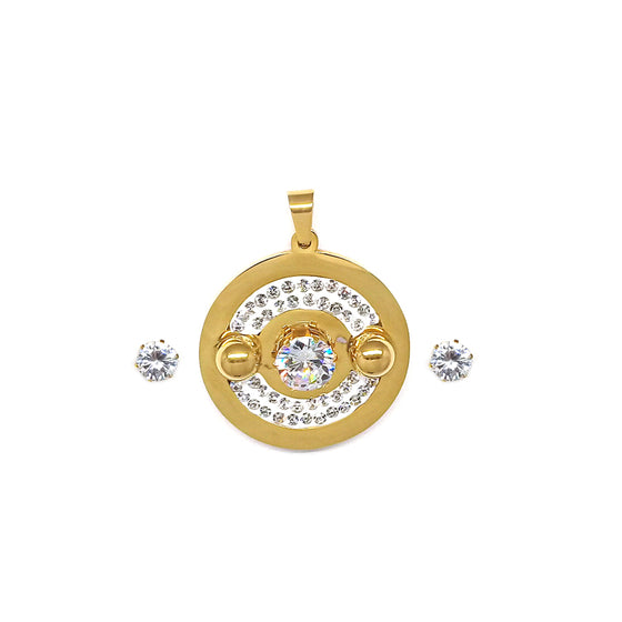 Gold Round Cubic Zirconia Set