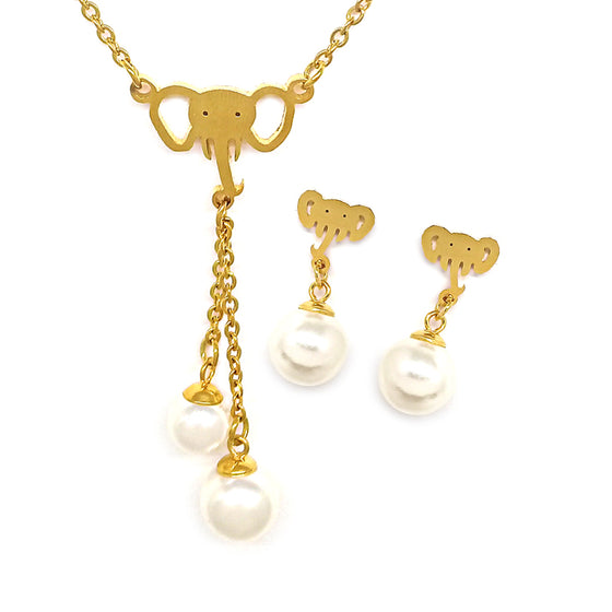 White Pearl Gold Elephant Set