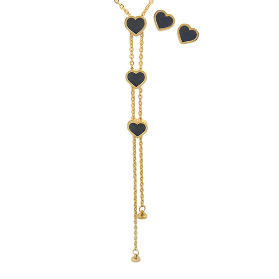 Three Heart Black Gold Tone Set