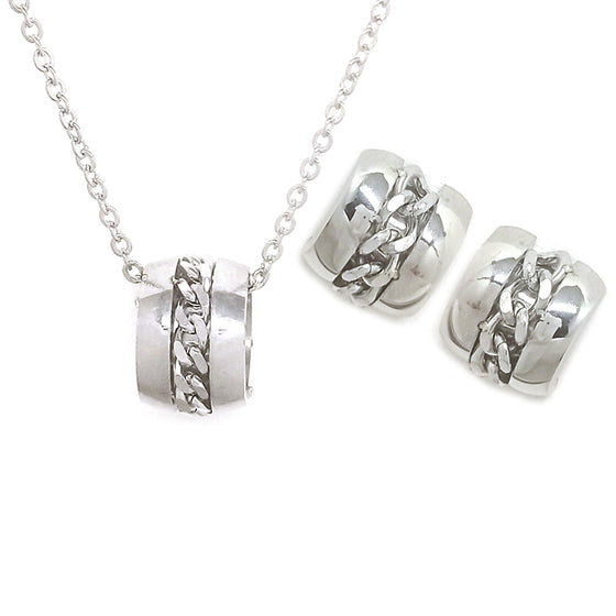 Silver Ring Chain with Earrings Set
