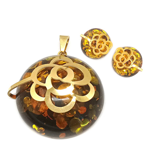 Brown Stone with a Flower Set