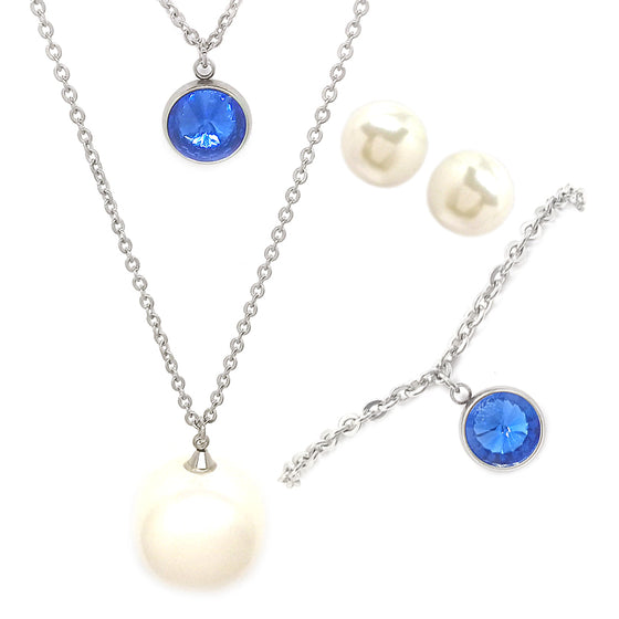 Pearl and Blue Stone Three Piece Set