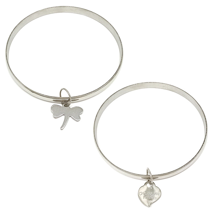 Two Silver Bangle with Charm (Assorted Charm)