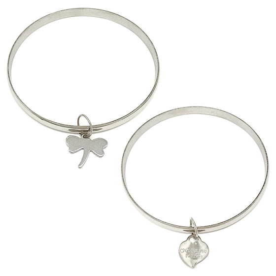 Two Silver Bangles with Charm