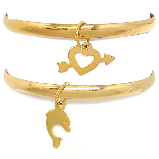 Two Gold Bangles with Charms