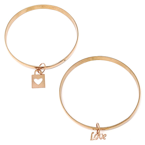 Two Rose Gold Bangles with Charm