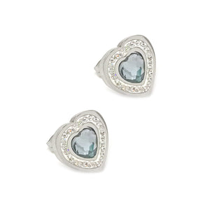 Blue Heart Stud Earrings
