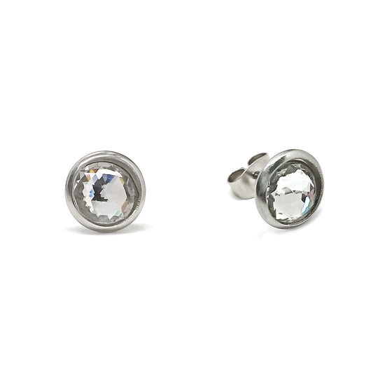 Clear Silver Stud Earrings