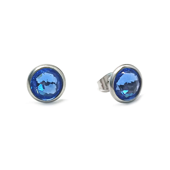 Silver Blue Stud Earrings