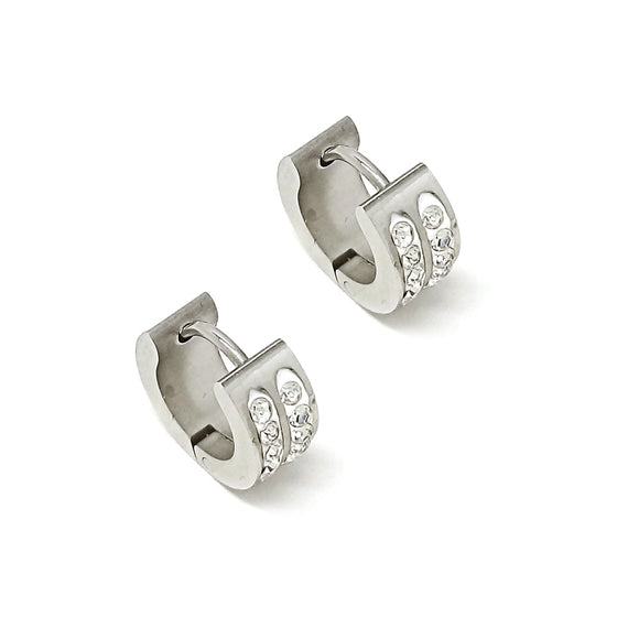 Silver Rhinestone Hoop Earrings