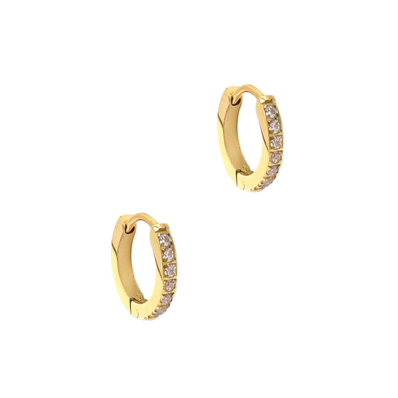 Small Hoop Earrings With Stone