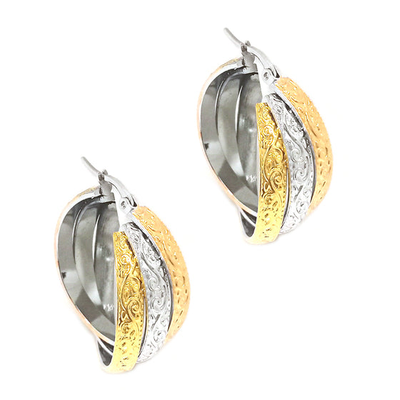 Tri Color Hoop Earrings