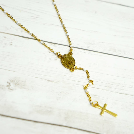 Gold & White Rosary Chain