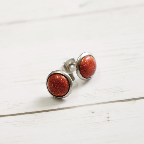 Silver Brown Stud Earrings