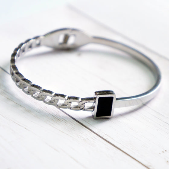 Linked Black Stone Bracelet