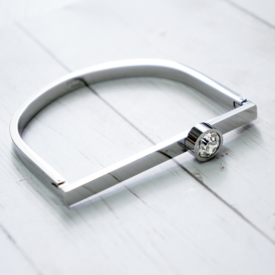 Silver Classic Bangle With Stone