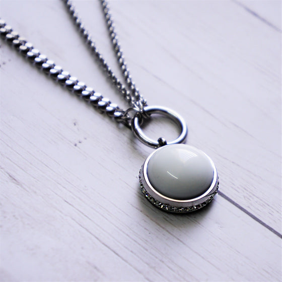 White Stone Drop Necklace