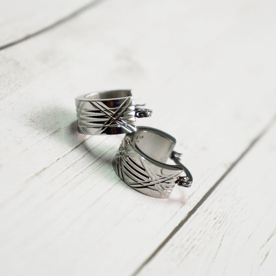 Silver Stripe Hoop Earrings