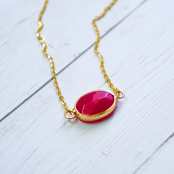 Fuchsia pink stone necklace