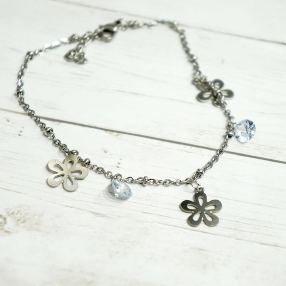 Crystal Flower Ankle Bracelet