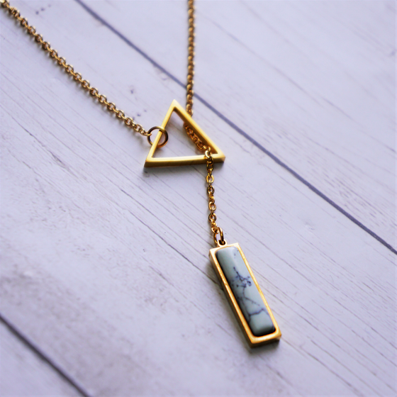 Triangle Necklace with White Square