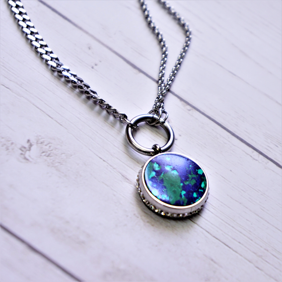 Round Marble Blue & Green Necklace