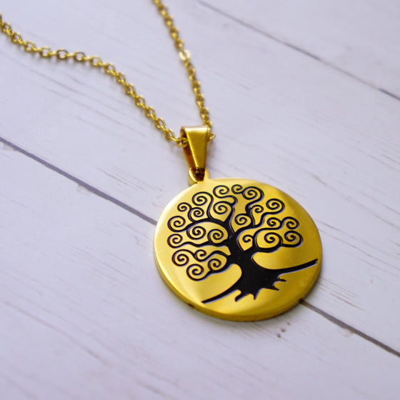 Black and Gold Tree of Life Necklace