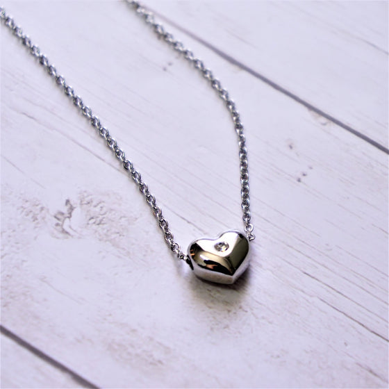 Little Heart with Stone Necklace