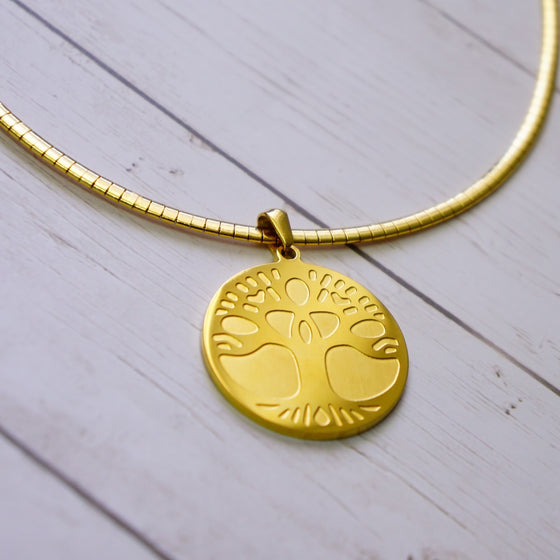 Gold Tree of Life Omega Necklace