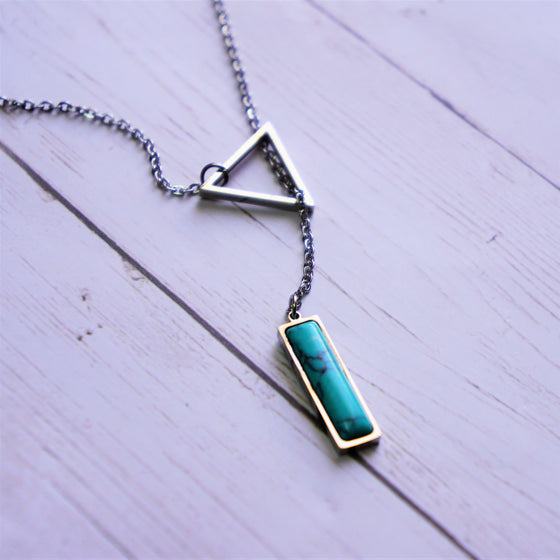 Triangle Chain with Turquoise Rectangle Necklace