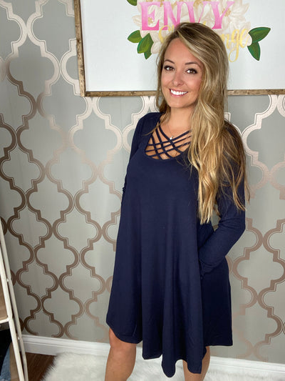 Almost There Crisscrossed Dress (Navy)