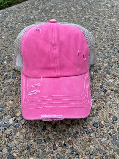 Hot Pink Distressed Multi-Way Ponytail Hat