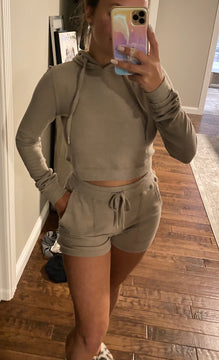 Right On Time Cropped Hoodie Short Set, Taupe