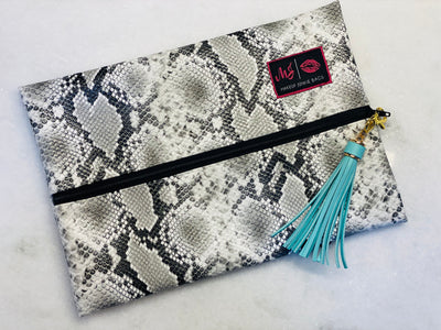 Grey Snake + Mint Makeup Junkie Bag, Medium