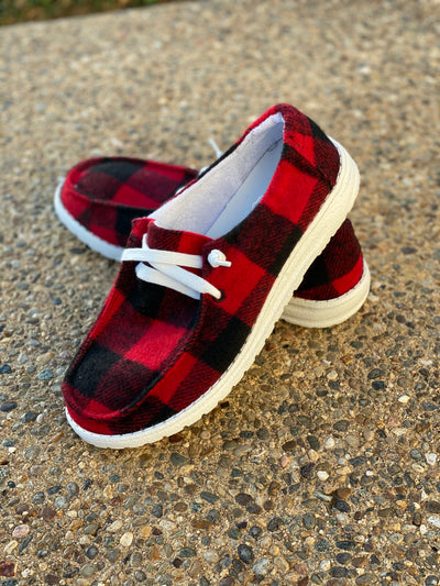 Heather Red Buffalo Plaid Sneaker