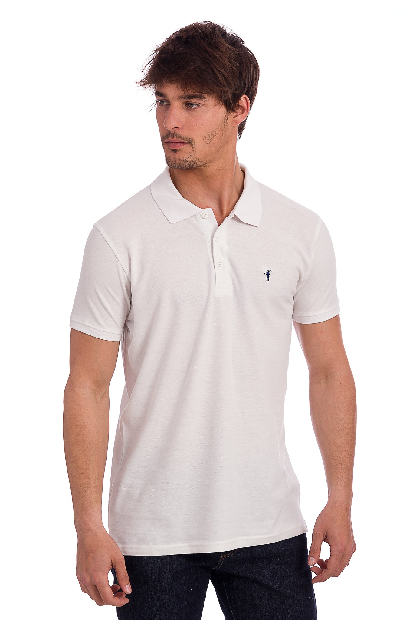 Polo blanco con logo bordado