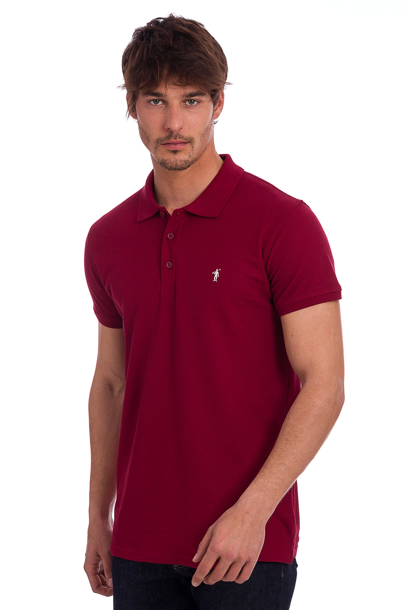 Polo granate con logo bordado
