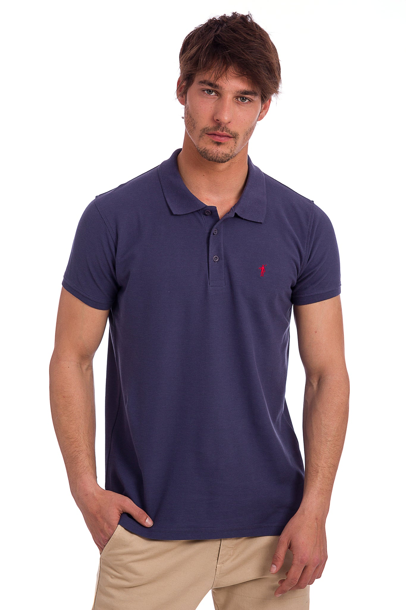 Polo azul denim con logo bordado