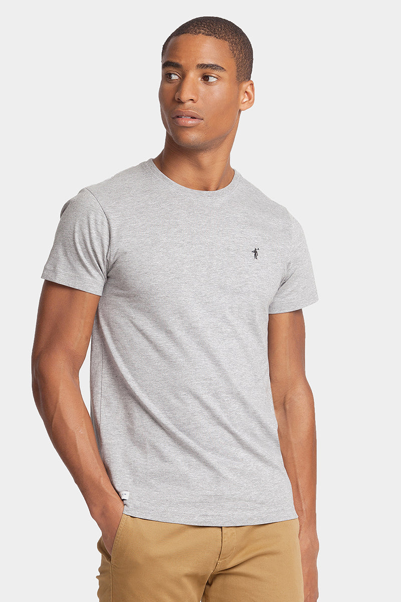 Grey cotton tee with embroidered logo