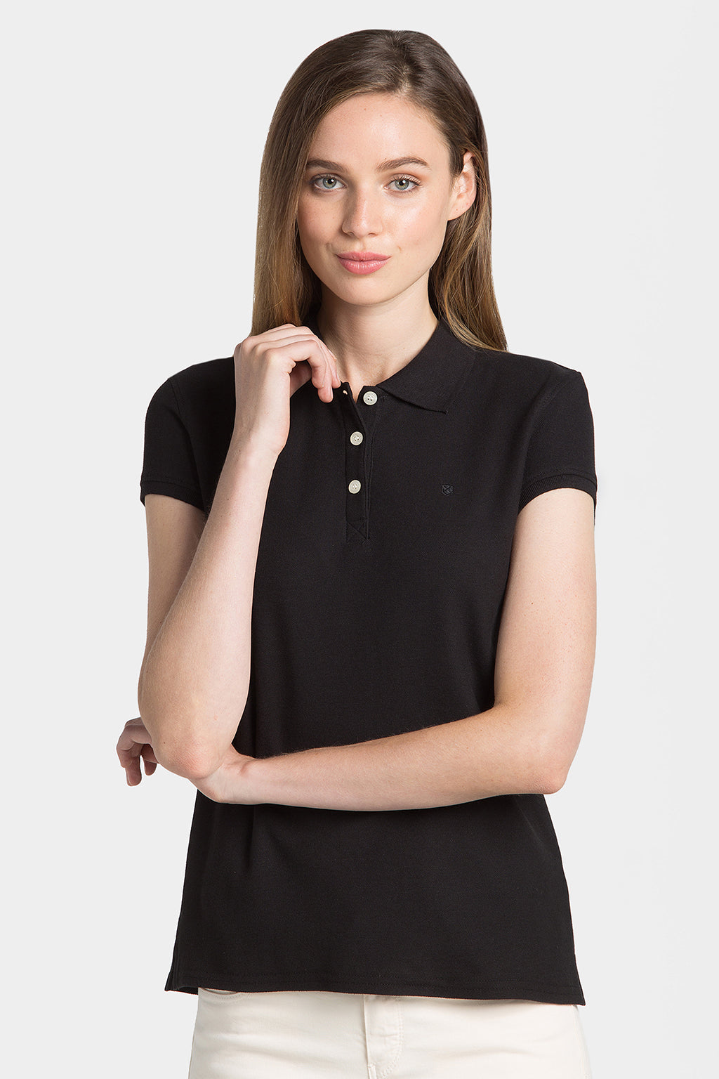 Black pique polo shirt with embroidery