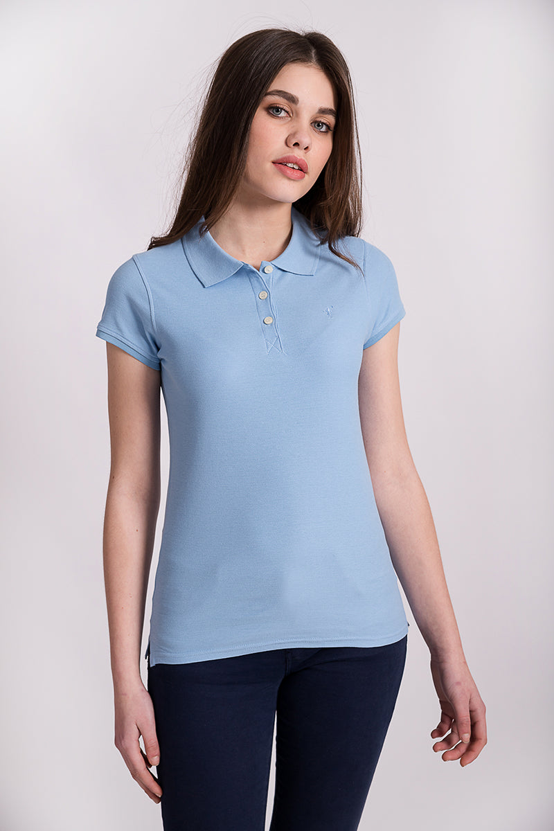 Polo azul celeste Mini Rigby Plain