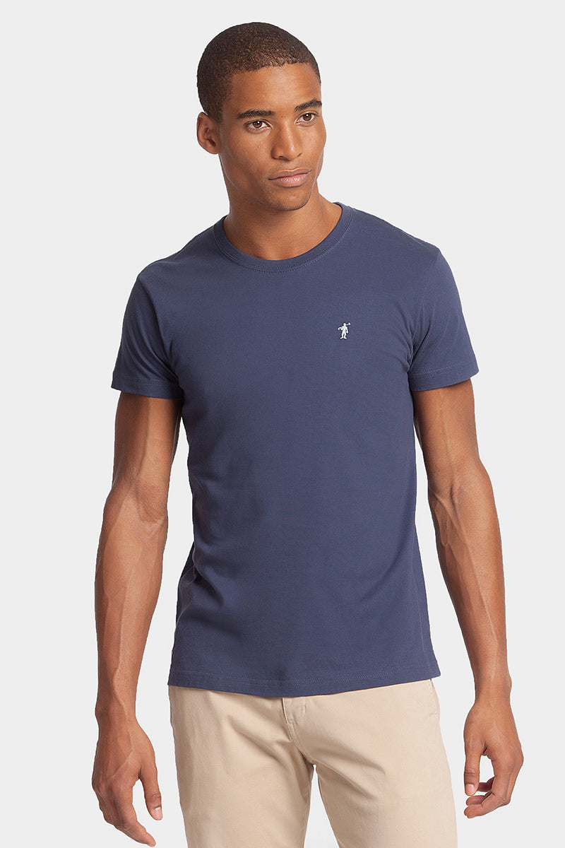 Denim blue cotton tee with embroidered logo