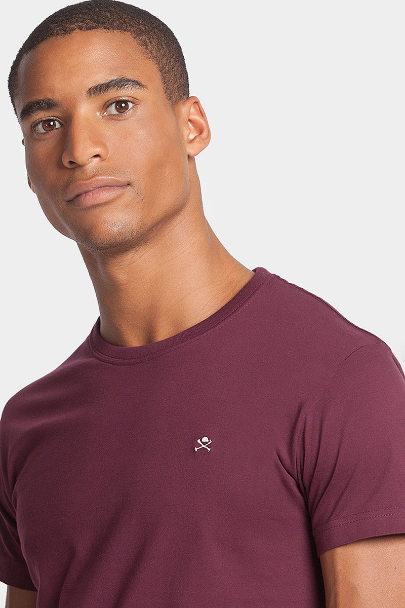 Maroon tee with little embroidery