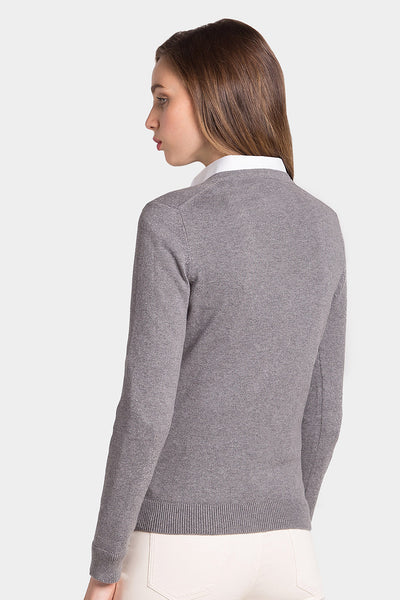 Jersey MISS PURE CASHMERE V Gris