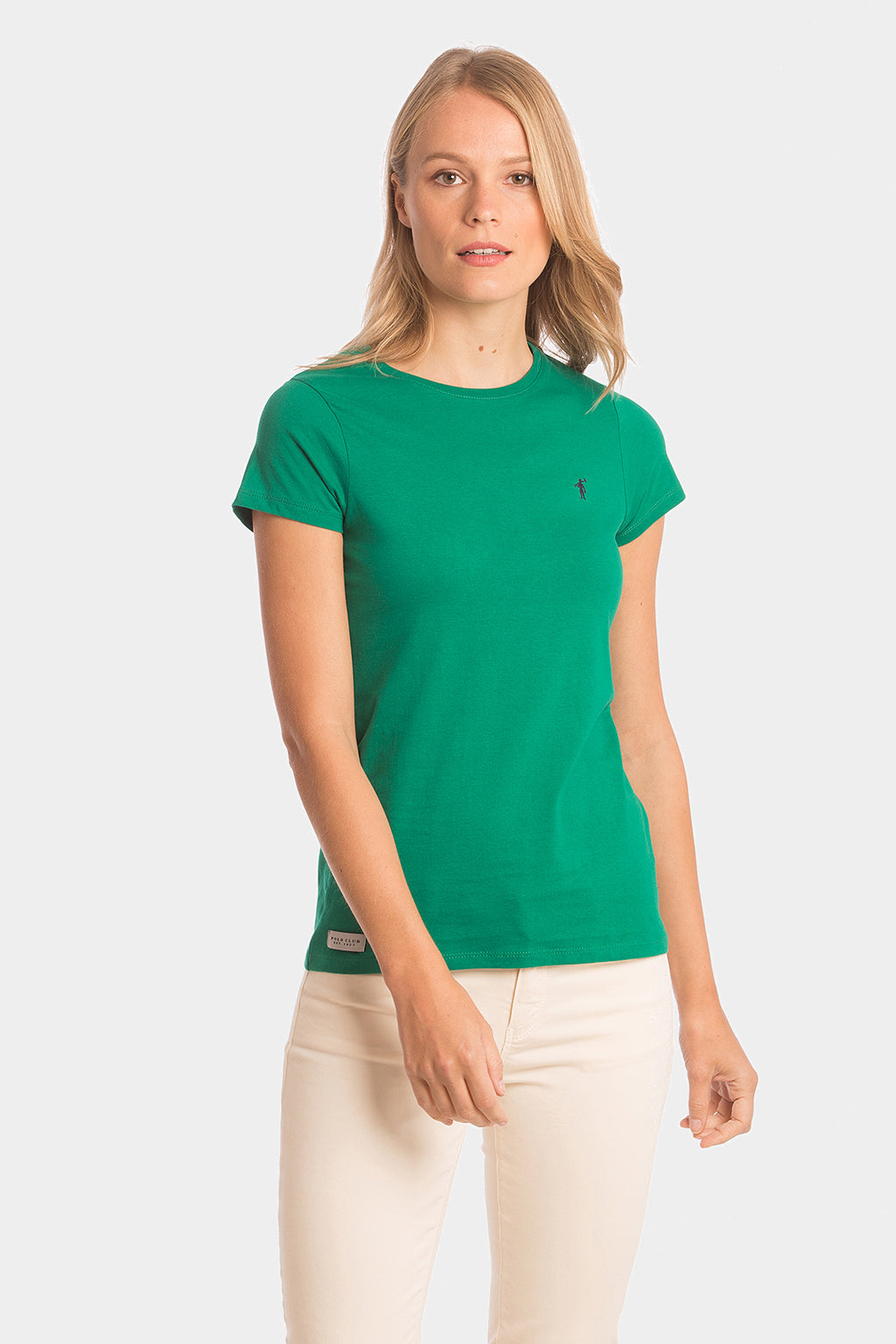 Green cotton T-shirt with embroidered logo