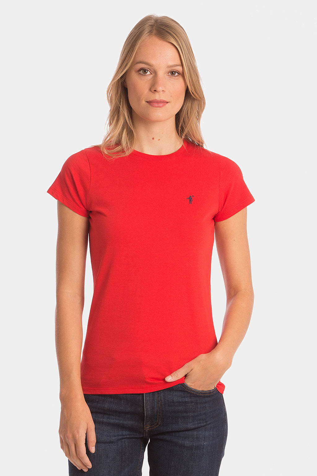 Red cotton tee with embroidered logo