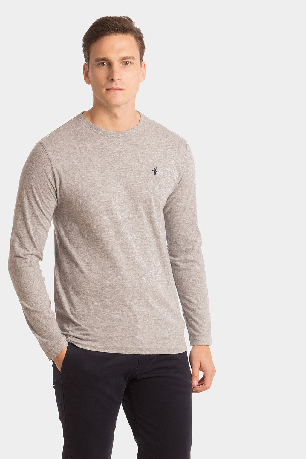 Grey vigore long sleeve tee with embroidery
