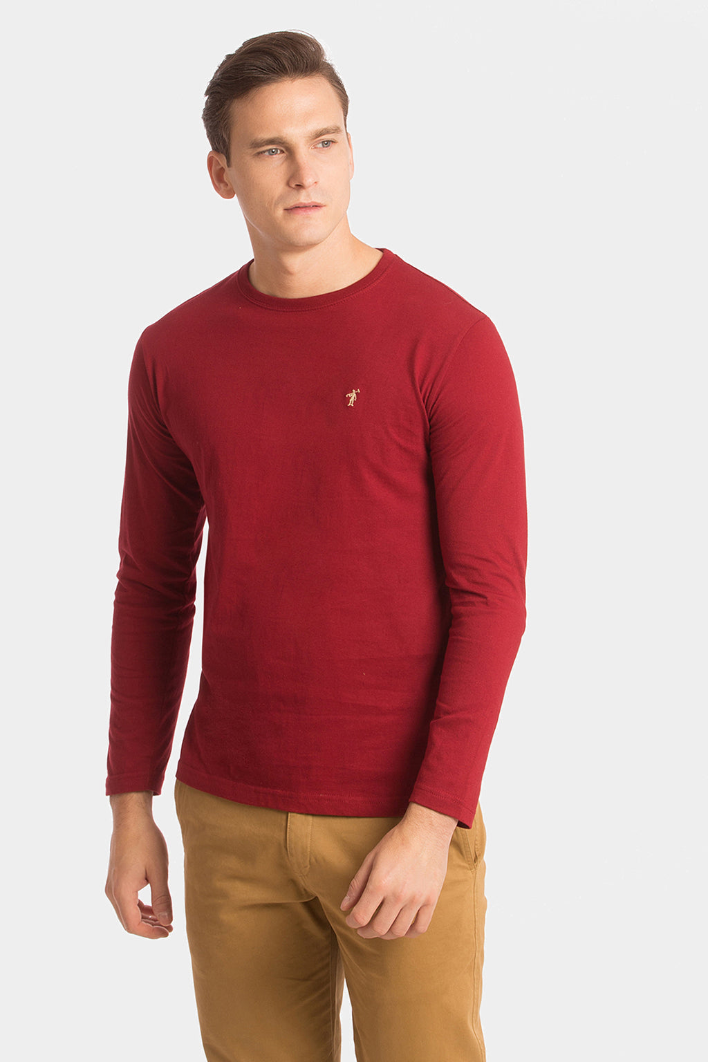 Maroon long sleeve T-shirt with embroidery